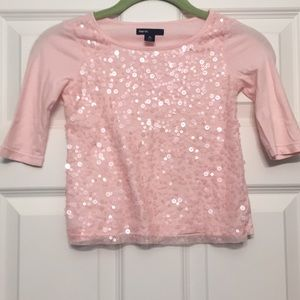 Gap Kids light pink sequin 3/4 sleeve top